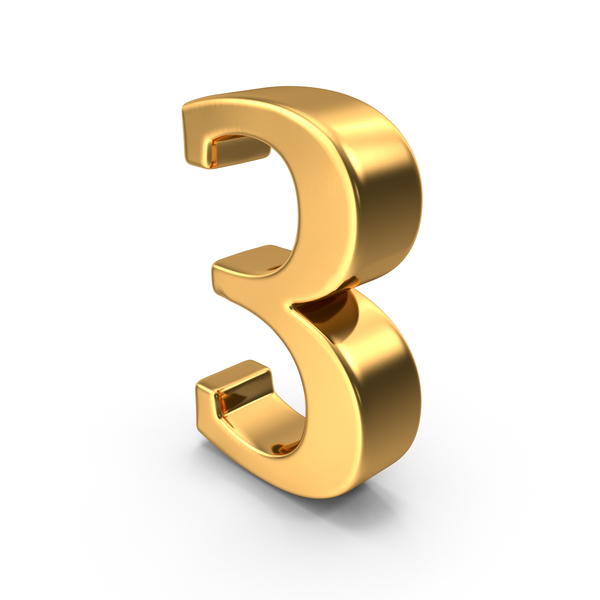Gold number 3 PNG & PSD Images