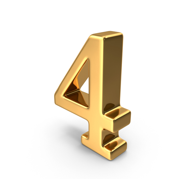 Gold Number 4 PNG & PSD Images