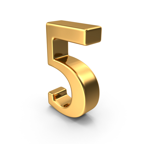 Gold Number 5 PNG & PSD Images