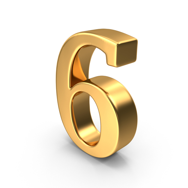 Gold Number 6 PNG & PSD Images