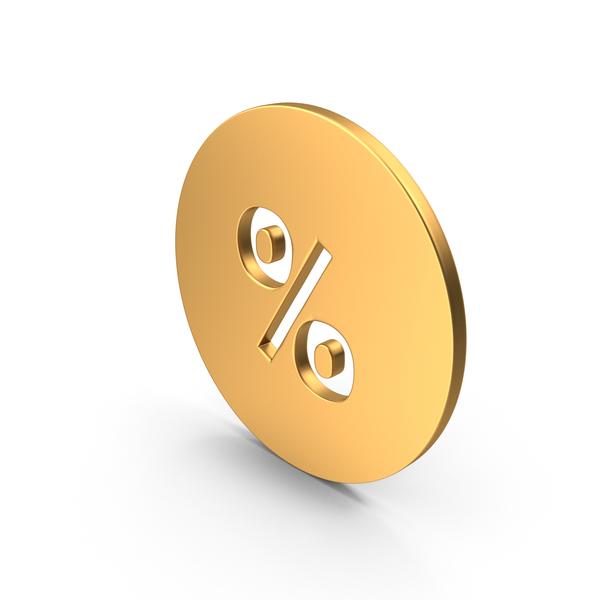 Gold Percent Symbol PNG & PSD Images