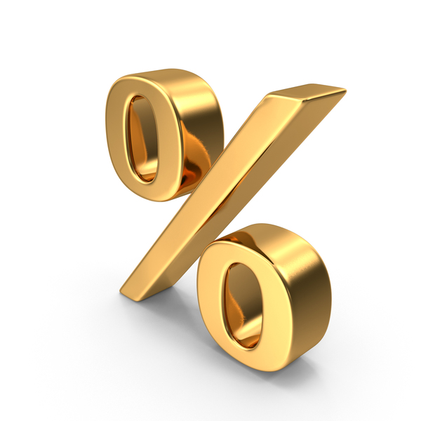 Gold Percentage Sign Object