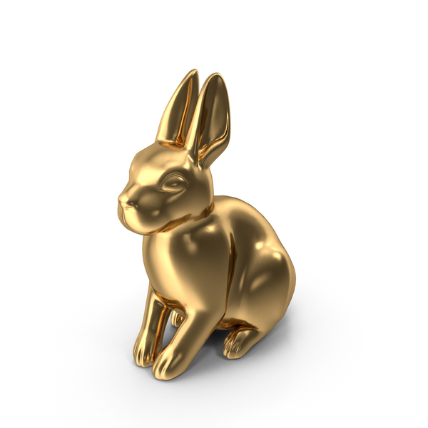 Gold Rabbit Figurine PNG & PSD Images