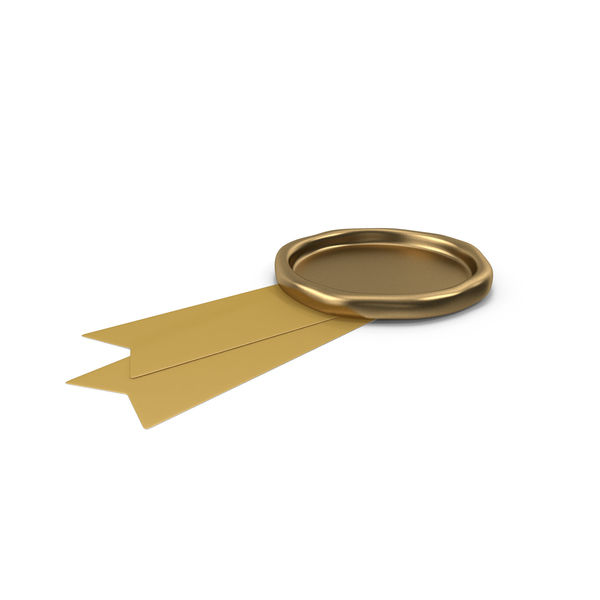 Gold Ribbon with Wax Stamp PNG & PSD Images