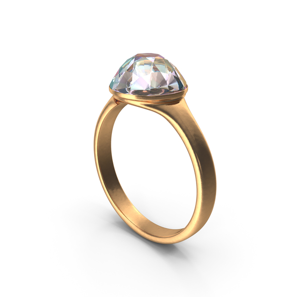Gold Ring with Large Diamond PNG & PSD Images