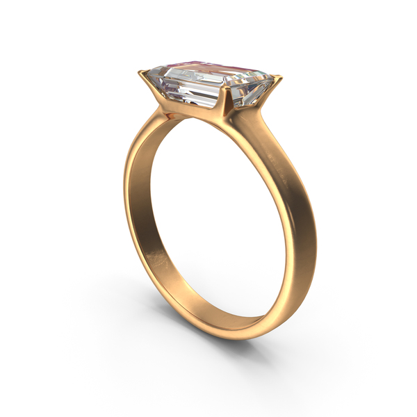 Gold Ring with Large rectangle Diamond PNG & PSD Images