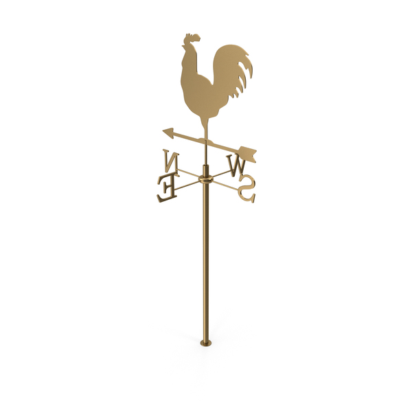 Gold Rooster Chicken Metal Weathervane PNG & PSD Images