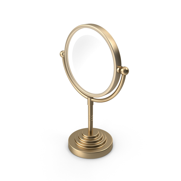 Gold Round Magnifying Led Illuminated Bathroom Mirrors PNG & PSD Images