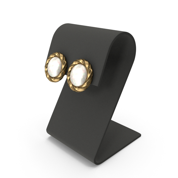 Gold Round Pearls Earrings with Curved Top Display PNG & PSD Images