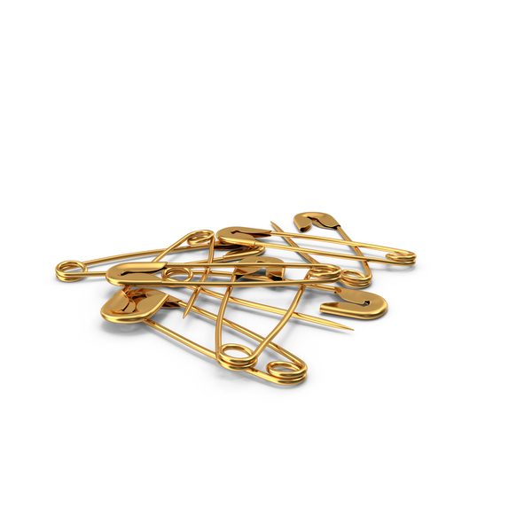 Gold Safety Pins PNG & PSD Images