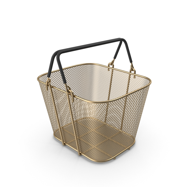 Gold Shopping Wire Mesh Basket with Handles PNG & PSD Images