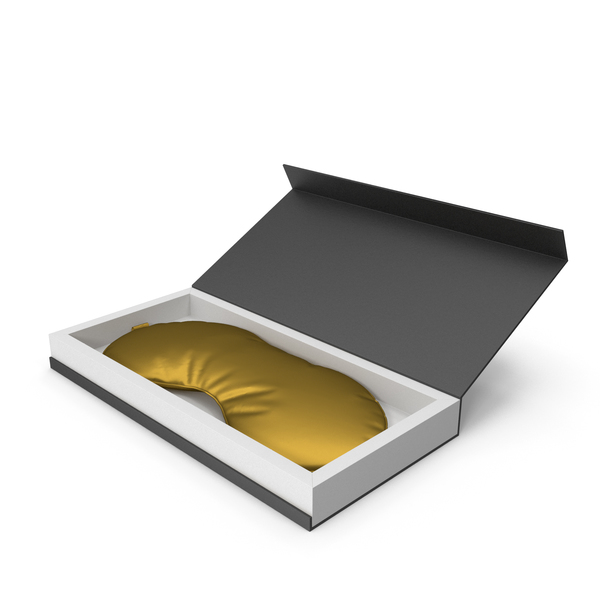 Gold Silk Sleep Mask with Gift Box PNG & PSD Images