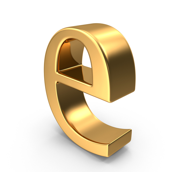 Language: Gold Small Letter e PNG & PSD Images