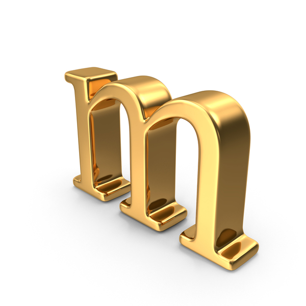 Gold Small letter m Object