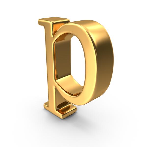 Roman Alphabet: Gold Small letter p PNG & PSD Images
