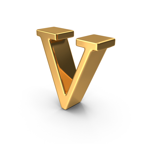 Gold Small Letter V PNG & PSD Images