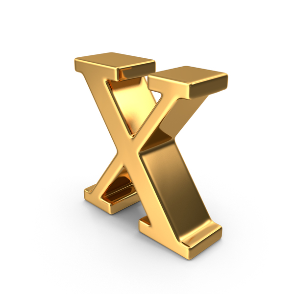 Gold Small Letter X PNG & PSD Images