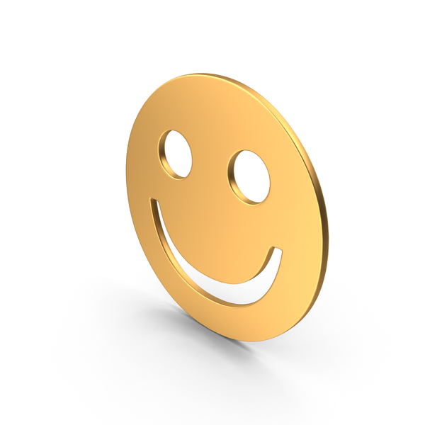Facial Expression: Gold Smiley Face Sign PNG & PSD Images