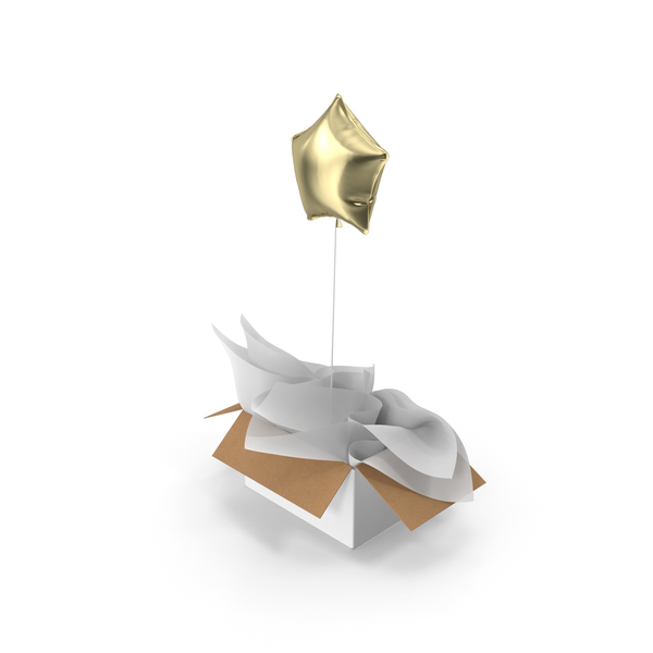 Gold Star Balloon Surprise Box PNG & PSD Images