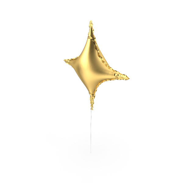 Gold Star Shape Foil Balloon PNG & PSD Images