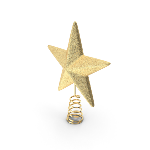 Gold Star Tree Topper PNG & PSD Images