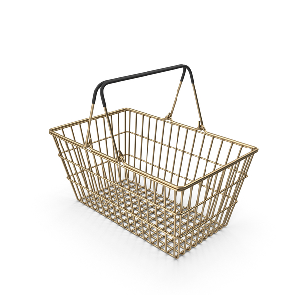 Shopping: Gold Supermarket Basket with Black Plastic PNG & PSD Images