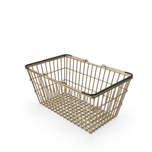 Gold Supermarket Basket with Black Plastic PNG & PSD Images