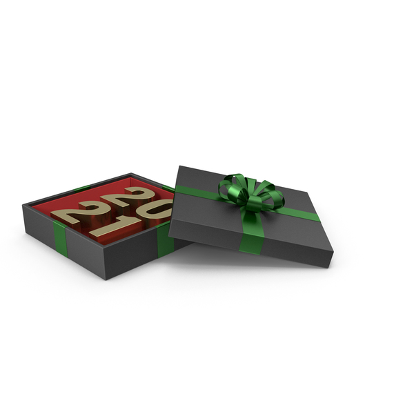 Gold Symbol 2021 in Black Gift Box with Green Ribbon PNG & PSD Images