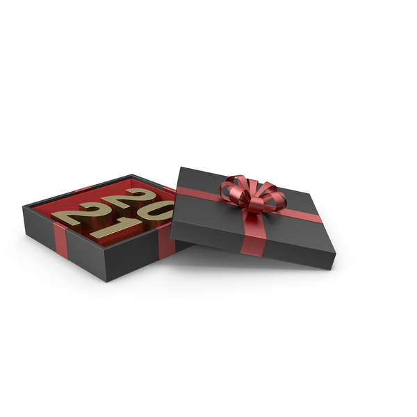Gold Symbol 2021 in Black Gift Box with Red Ribbon PNG & PSD Images
