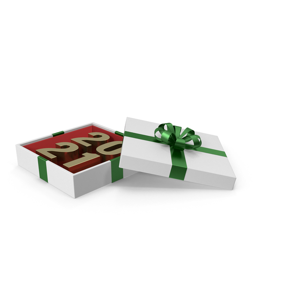 Basket: Gold Symbol 2021 in White Gift Box with Green Ribbon PNG & PSD Images