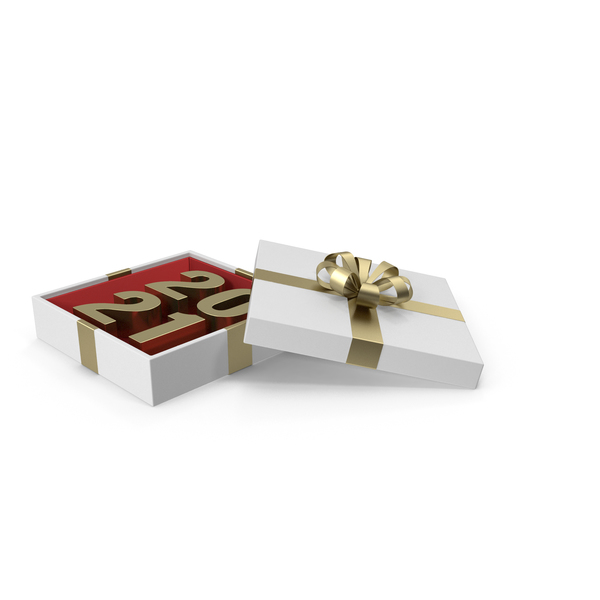 Gold Symbol 2021 in White Gift Box with Gold Ribbon PNG & PSD Images