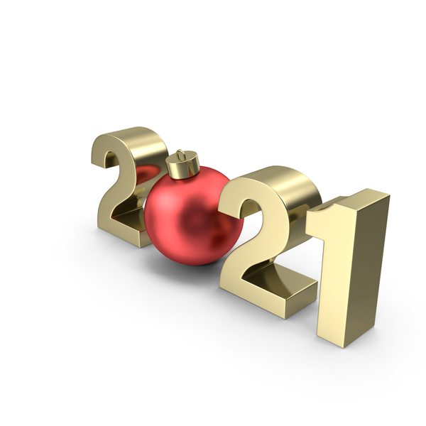 Gold Symbol 2021 with Red Christmas Ball PNG & PSD Images