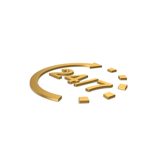 Computer Icon: Gold Symbol 24 / 7 Open PNG & PSD Images