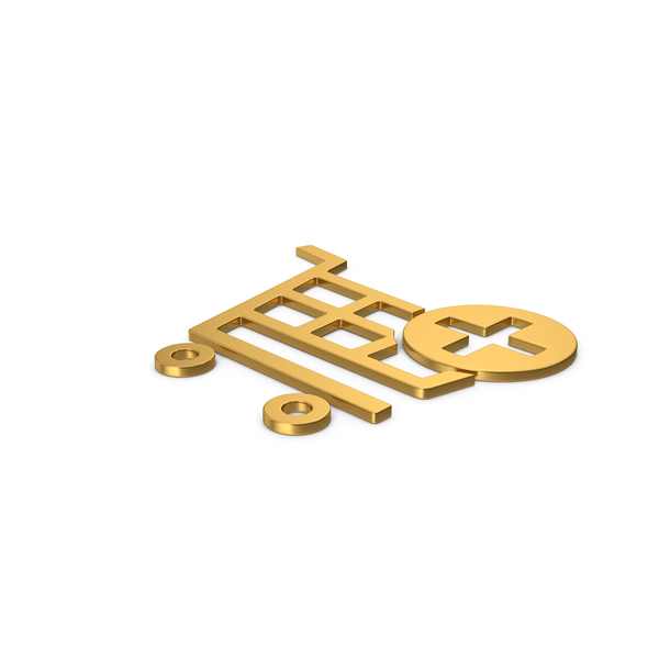 Gold Symbol Add To Shopping Cart PNG & PSD Images