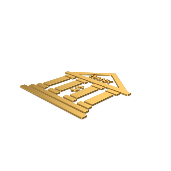Computer Icon: Gold Symbol Bank PNG & PSD Images