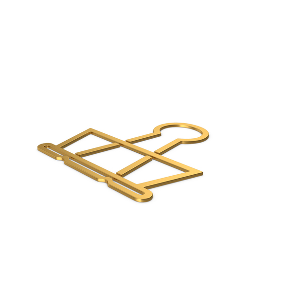 Symbols: Gold Symbol Binder Clip PNG & PSD Images