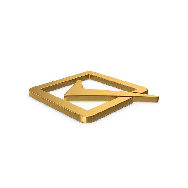 Mark: Gold Symbol Check Box PNG & PSD Images