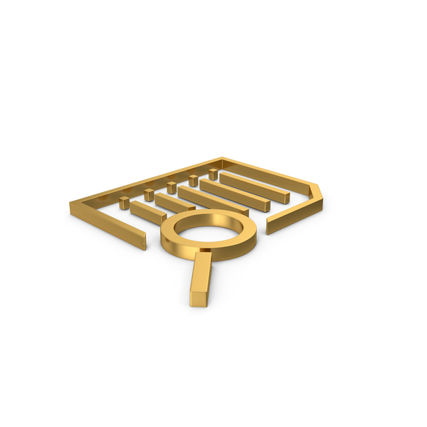 File Holder: Gold Symbol Document With Magnifying Glass PNG & PSD Images