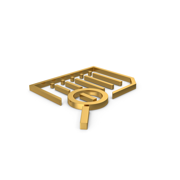 File Holder: Gold Symbol Document Zoom Out PNG & PSD Images