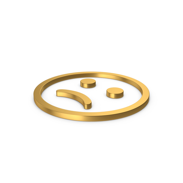 Facial Expression: Gold Symbol Emoji Frowning PNG & PSD Images