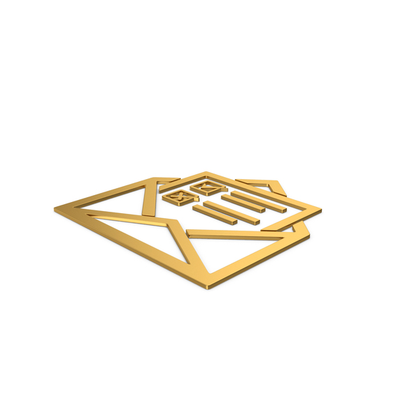 Computer Icon: Gold Symbol Envelope With Checklist PNG & PSD Images