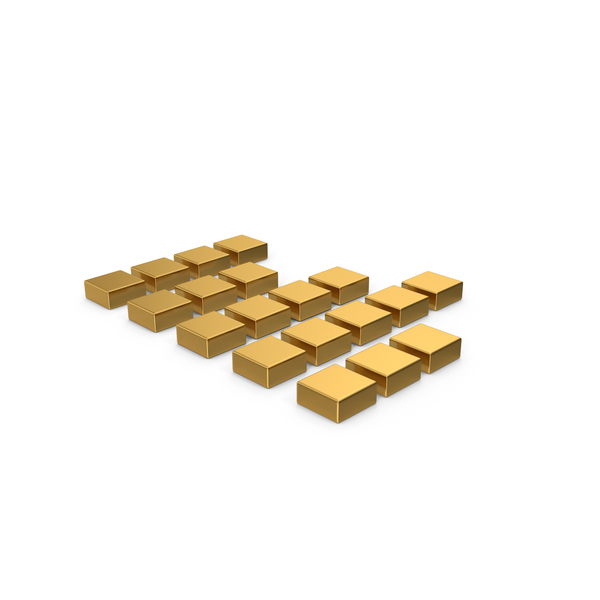 Industrial Equipment: Gold Symbol Graph Cube Chart PNG & PSD Images