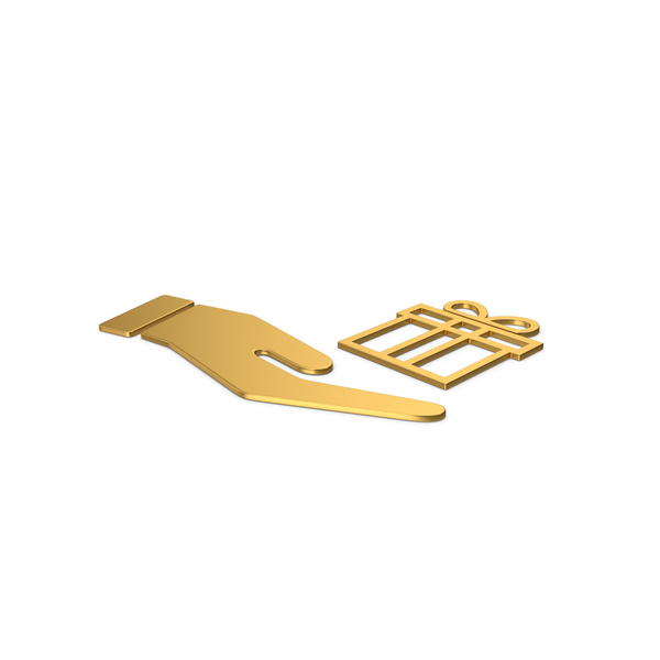 Computer Icon: Gold Symbol Hand Holding Gift PNG & PSD Images