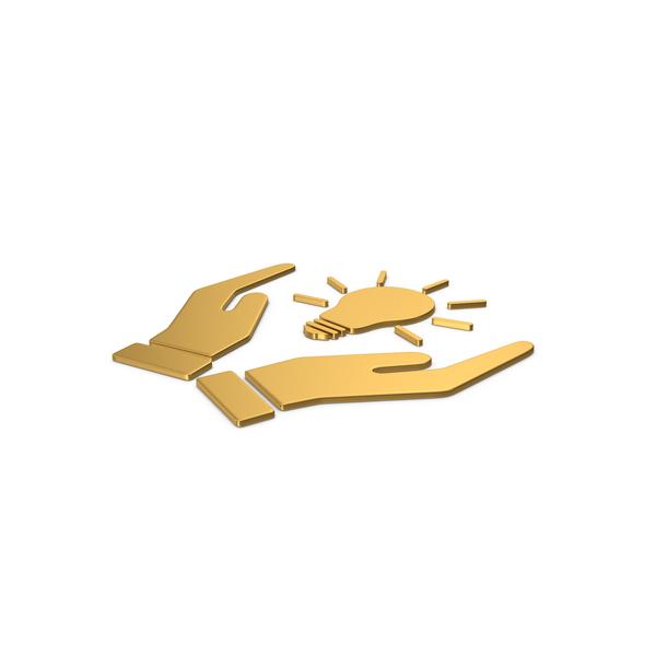 Lightbulb: Gold Symbol Hands Holding Light Bulb PNG & PSD Images