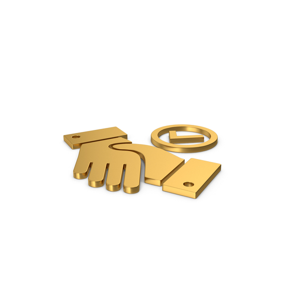 Computer Icon: Gold Symbol Handshake With Checkmark PNG & PSD Images