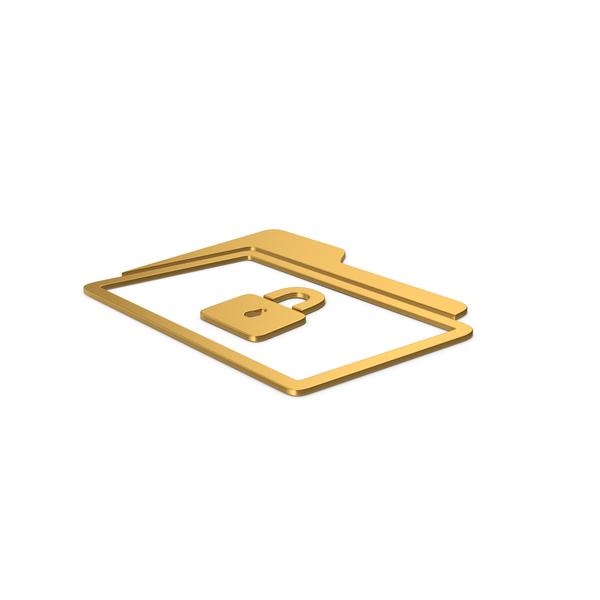 Symbols: Gold Symbol Locked File Folder PNG & PSD Images