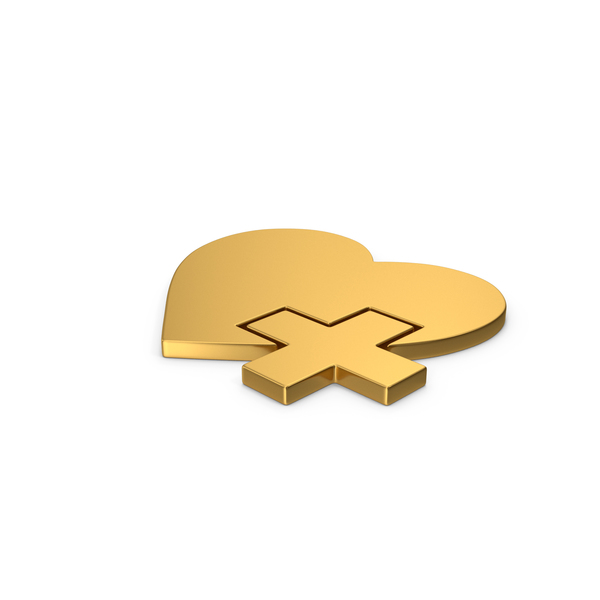 Symbols: Gold Symbol Medical Heart PNG & PSD Images