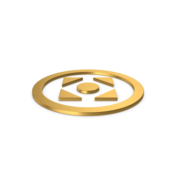 Directional Arrow: Gold Symbol Move Button PNG & PSD Images