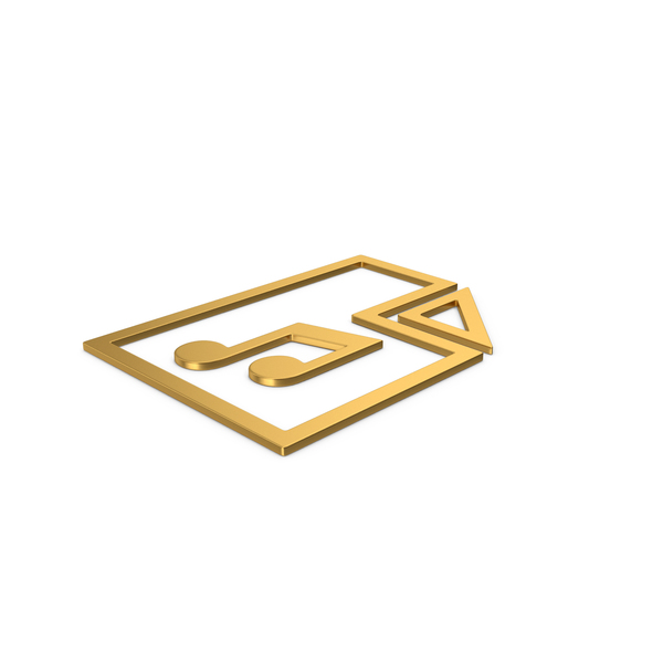 Computer Icon: Gold Symbol Music File PNG & PSD Images