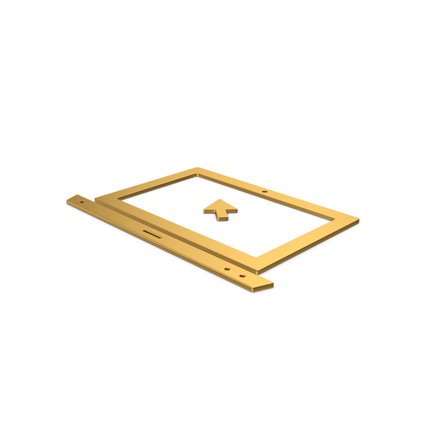 Industrial Equipment: Gold Symbol Notebook With Mouse Cursor PNG & PSD Images